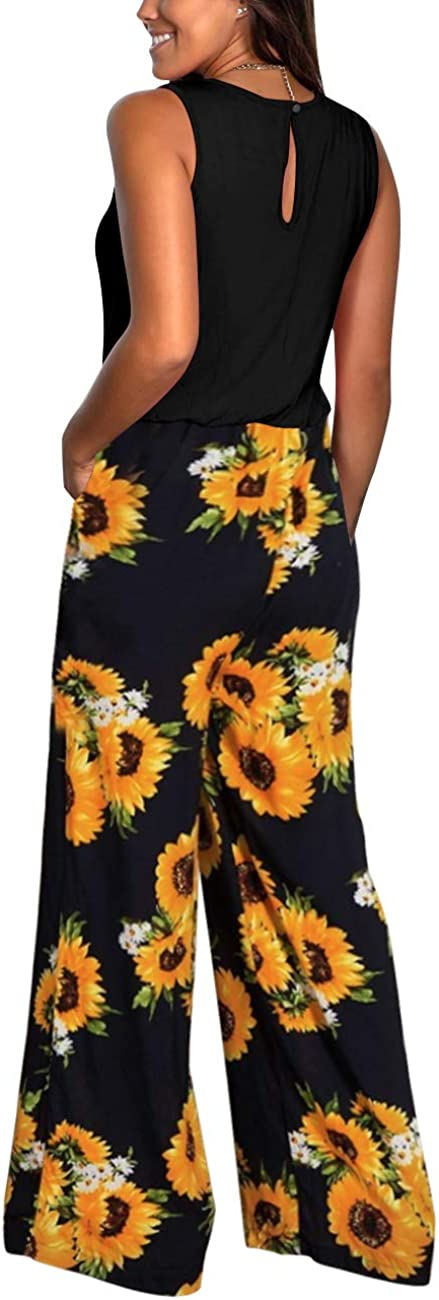 Iussurin Womens Sleeveless Jumpsuits Floral Wide Leg Rompers Crew Neck Top Loose Long Pants with Pockets Casual S-XL
