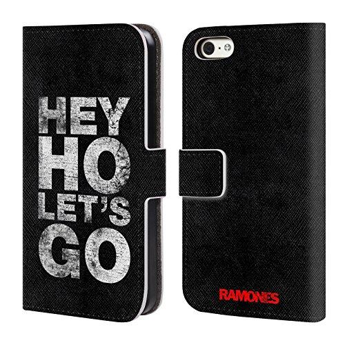 Officiel Ramones Hey Ho Let's Go Art Clé Étui Coque De Livre En Cuir Pour Apple iPhone 5c
