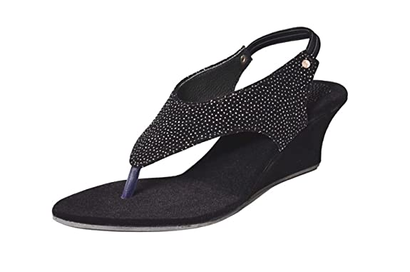 Mr.Polo Women's Black Velvet Wedges Sandal Sandals & Floaters at amazon