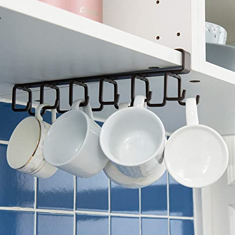 IDEALCRAFT Mug Hooks Under Cabinet Hanging Holder for Mugs, Coffee Cups and Kitchen Utensils Display, 12 Hooks Suitable for Board Thickness Less Than ...