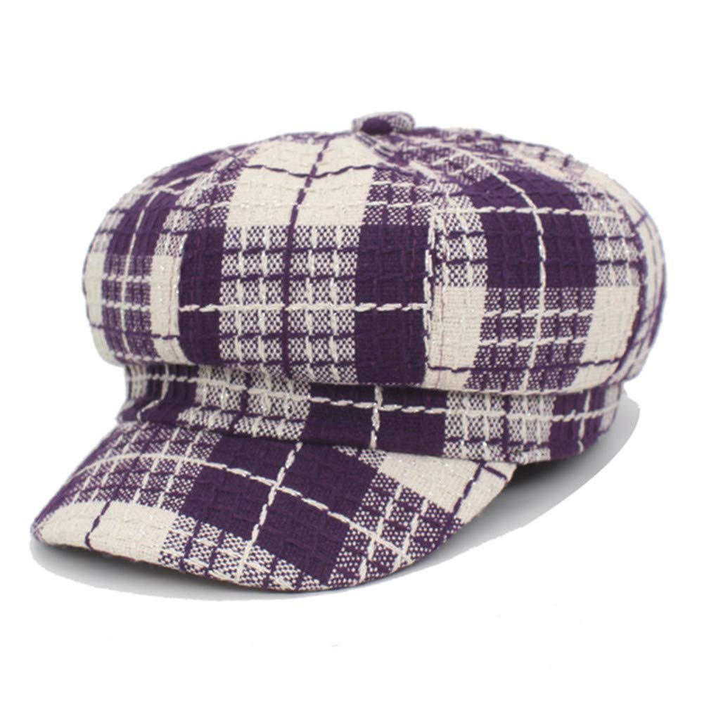 New Octagonal Hats Women Cap Hats For Women Plaid Winter Boina Beret Ladies Newsboy Caps