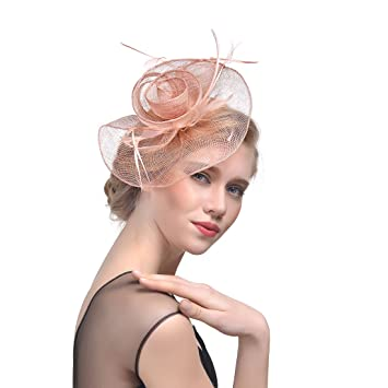 Amazon.com  Wcysin Women s Trendy Flower Veil Hat Fascinator ... 1f225f433b5