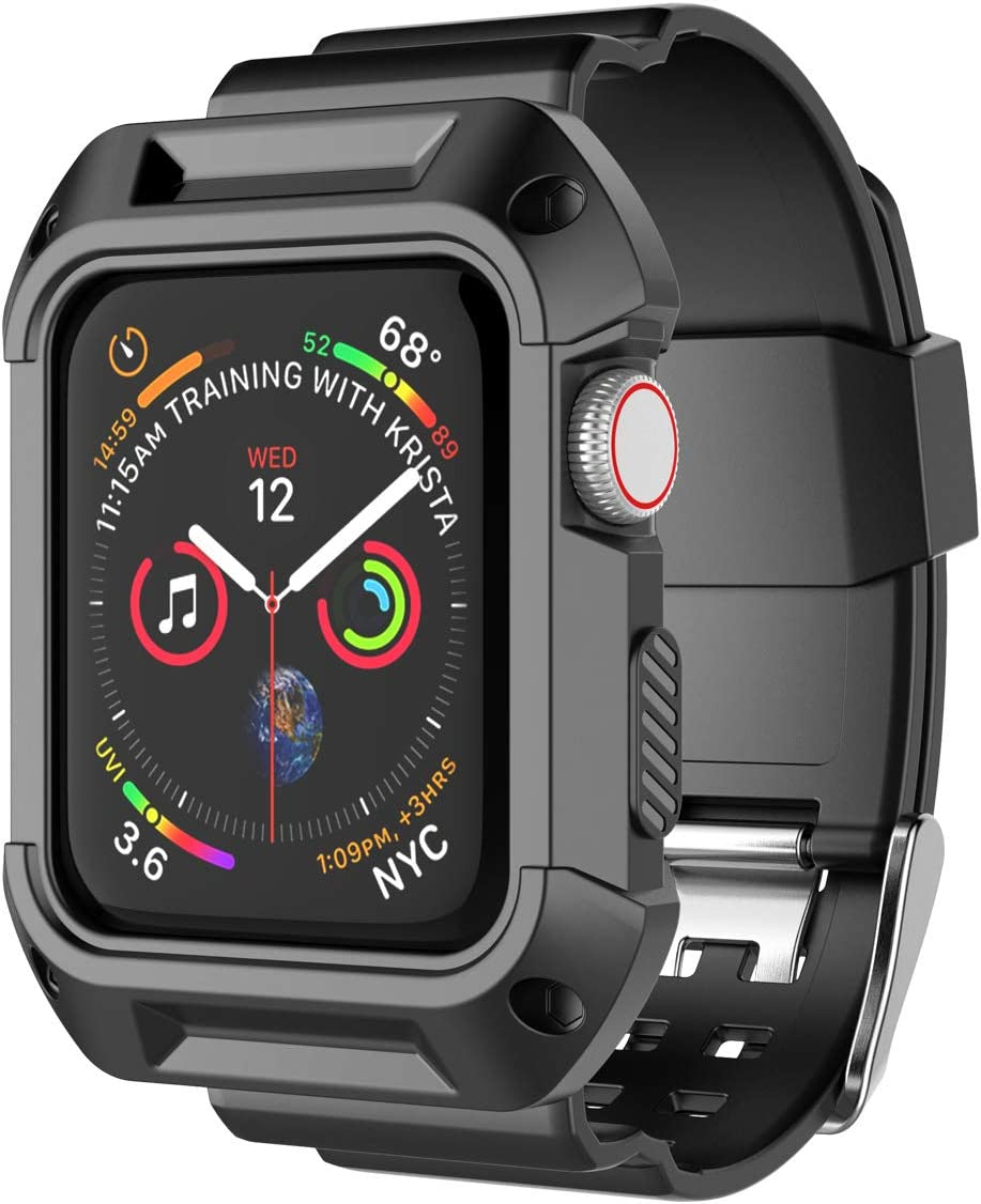 Njjex Smartwatch Band with Case for Apple Watch Bands 38mm 42mm Series 3 Series 2 Series 1, Soft Silicone Protective Bumper Replacement Strap Band Wristband for Apple Watch iWatch Series 3 2 1 [Black]