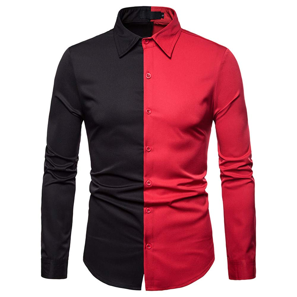 GREFER Men's T Shirt Spring Fashion Casual Color Patch Slim Fit Long Sleeve Top Blouse Red by GREFER