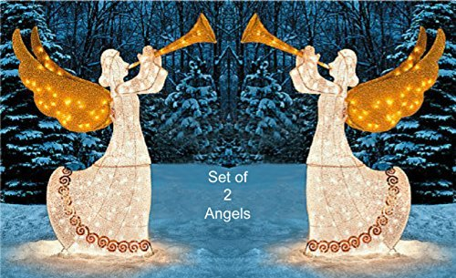 Lighted Animated Angel With Horn, 5 Feet Tall - Set of 2 by Holiday Times