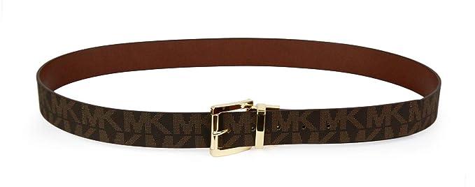 76e207134b64 Michael Kors Womens MK Monogram Gold Buckle Reversible Leather Belt - Brown  (1X-Large)  Amazon.co.uk  Clothing
