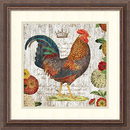 Framed Art Print, 'Rooster I' by Suzanne Nicoll: Outer Size 19 x - Framed Rooster
