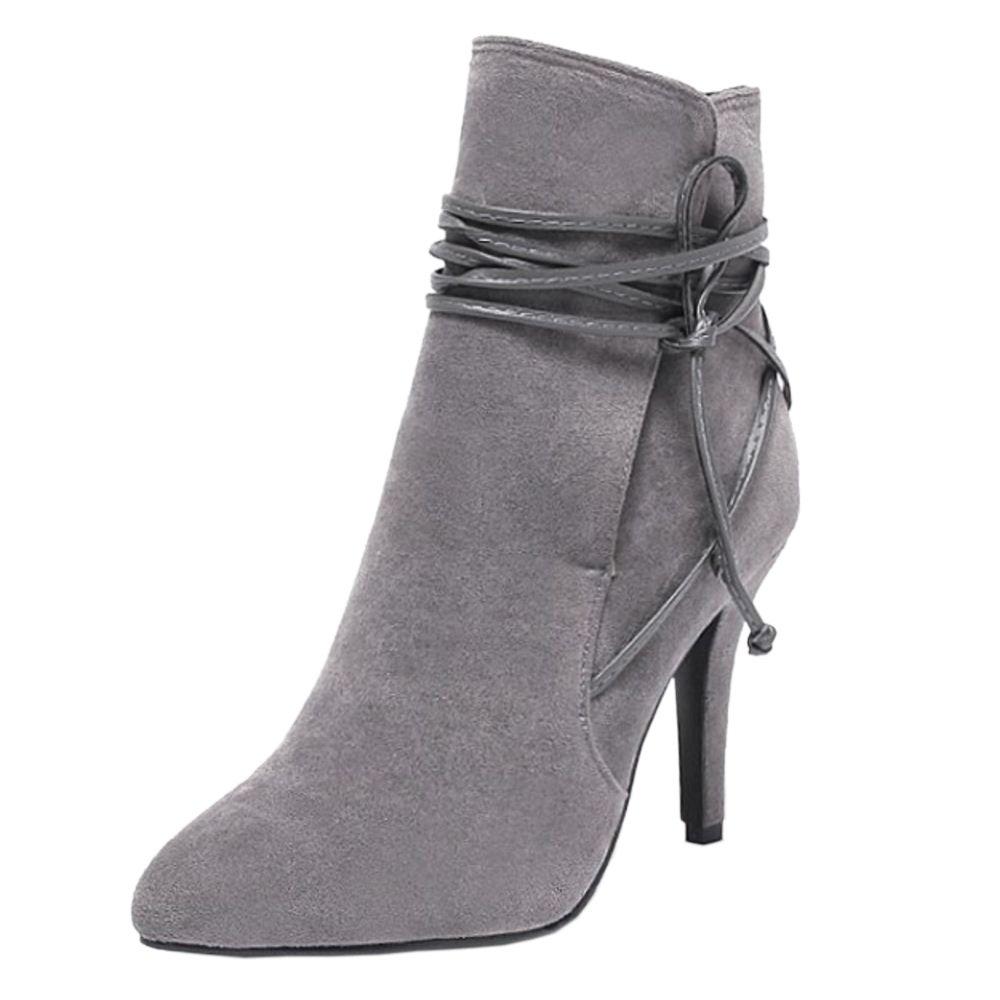 1e33cadaba02 RAZAMAZA Damen Stiefeletten Mode Stiletto High Heel Stiefel 38 EU Grey