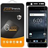 (2 Pack) Supershieldz for Nokia 6 Tempered Glass Screen Protector, (Full Screen Coverage) 0.33mm, Anti Scratch, Bubble Free (Black)
