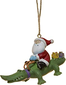 Cape Shore Santa Riding Alligator Gator with Gifts Holiday Christmas Ornament