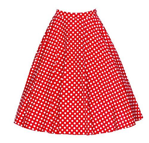 Dot Jupe 50 Vintage Taille Annes Femme Rouge Midi Jupe Chic Haute Rtro Plisse Rq7n7dSw