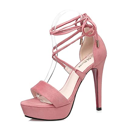687489a9092 Amazon.com: YXB Women's High Heel Sandals 2019 New Suede Ankle Strap ...