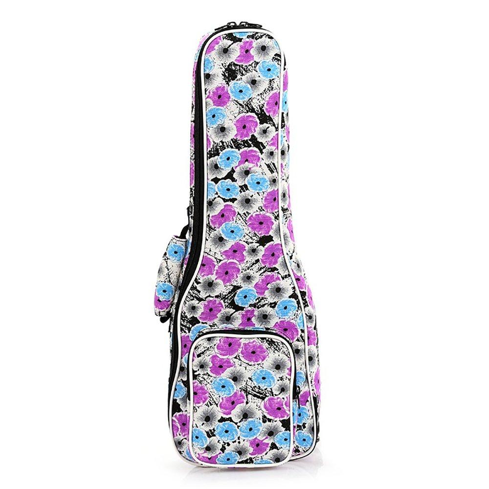 ZEALUX Two Adjustable Shoulder Straps 10MM Sponge Fill Ukulele Case Bag & Uke Case