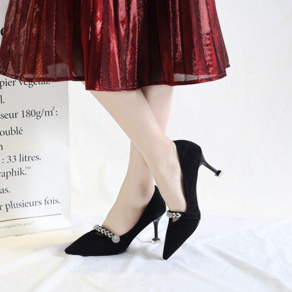 Cy Damen Pumps Schuhe Mit Hohen Absätzen Scrub Suede Sexy Metal Kätzchen Heels Flacher Mund Stiletto Metal Sexy Strap Court Für Damen Mädchen Bankett Nachtclub schwarz 5d0842