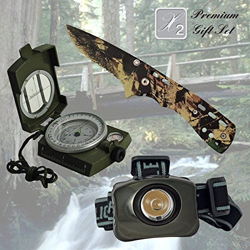 X2 Premium Gift Set for Christmas for Hoiday for Dad Father Brother Friend Gift for Grandpa Gift for Papa Best Gift Combination with Knife Headlamp Compass Gift Set