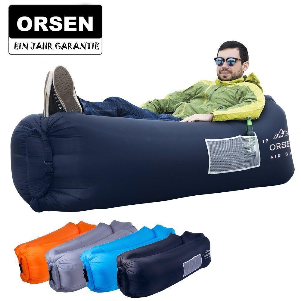 Orsen Sofá Hinchable Impermeable, con Bolsa de Transporte y cojín ...