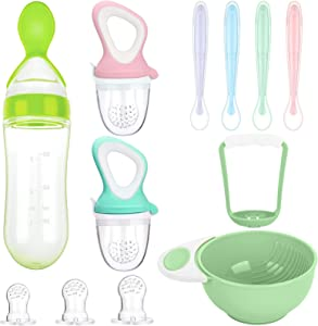 11 Piece Food Feeder Baby Teething Pacifiers Mash and Serving Bowl Silicone Food Dispensing Spoon 4 Soft-Tip Silicone Baby Spoons for Toddler First Stage Feeding Set (Cute Color)