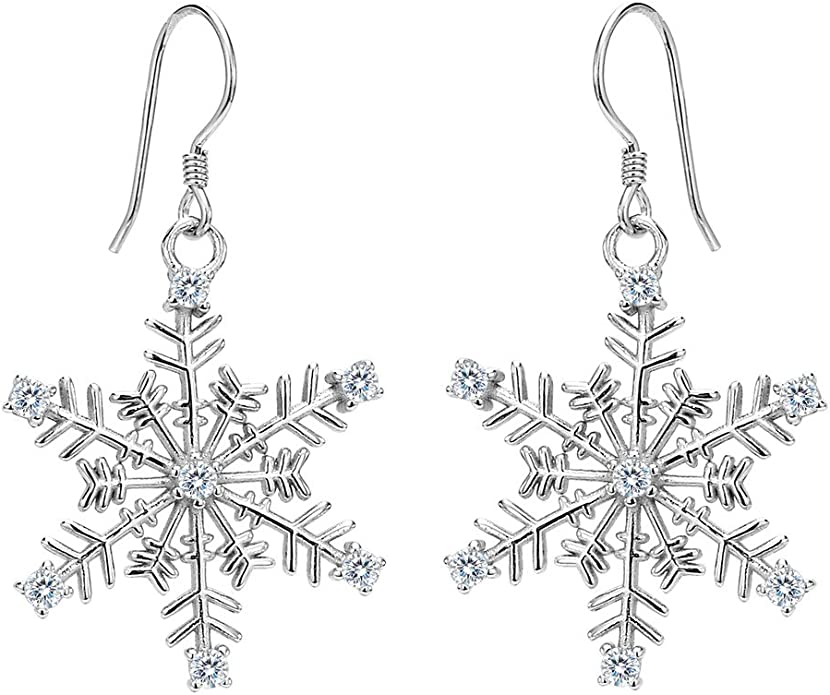 Sterling Silver 925 Snowflake CZ Necklace /& Earrings Set Christmas Jewelry N108