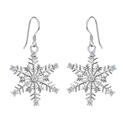 16fc96e36 Amazon.com: EVER FAITH Women's 925 Sterling Silver CZ Winter Party Snowflake  Hook Dangle Earrings Clear: Jewelry