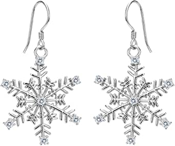 EVER FAITH Women's 925 Sterling Silver CZ Winter Party Snowflake Hook Dangle Earrings Clear