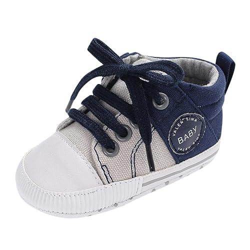 Logobeing Zapatos de Cordones de La Lona Zapatos de Bebé Recién Nacidas Zapatos Pre-Deslizantes Suaves de La Cribada del Pesebre Zapatillas de Deporte: ...