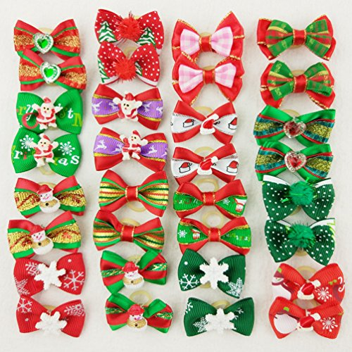 Hixixi 24pcs/12pairs Pet Dog Christmas Samll Hair Bows with Rubber Bands Xmas Cat Puppy Grooming Accessories