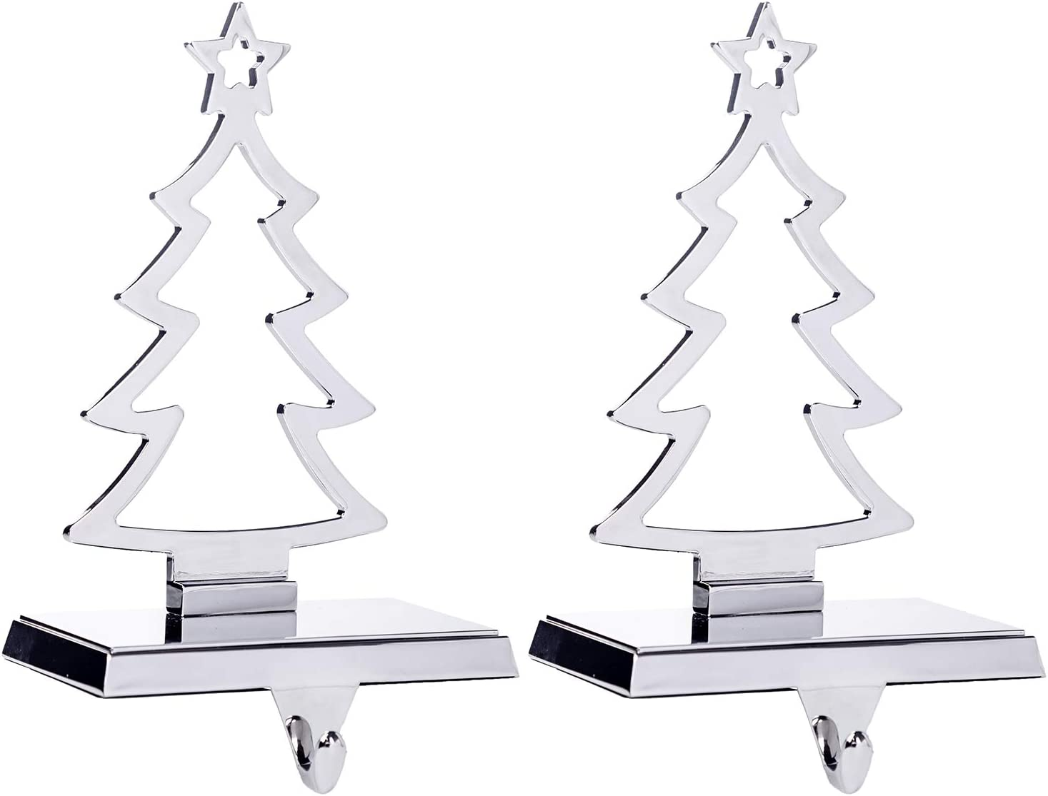 Klikel Christmas Tree Stocking Hanger for Mantel | Set of 2 | Silver Metal Stocking Holder with Hook