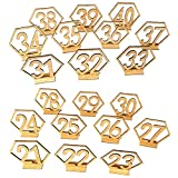 Ocamo Number 21-40 Elegant Wooden Hollow-out Hexagon Table Cards Reception Seat Card for Party Event Organizing Decorating 20PCS/Set