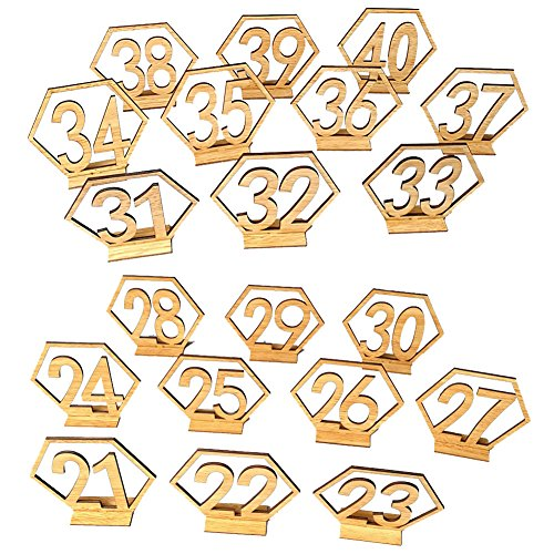 Ocamo Number 21-40 Elegant Wooden Hollow-out Hexagon Table Cards Reception Seat Card for Party Event Organizing Decorating 20PCS/Set by Ocamo