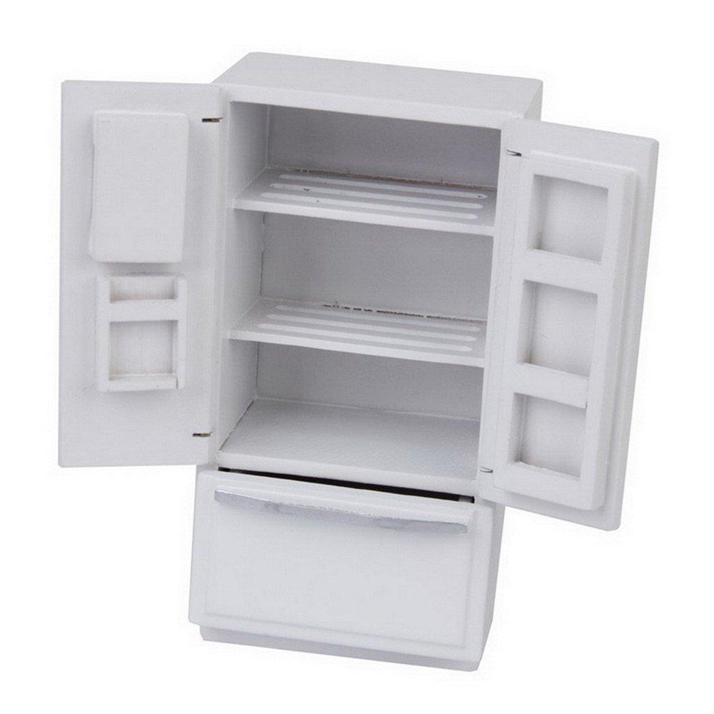 dreamflyingtech 1/12 Dollhouse Miniature Fridge Refrigerator White Doll House Furniture Accessories