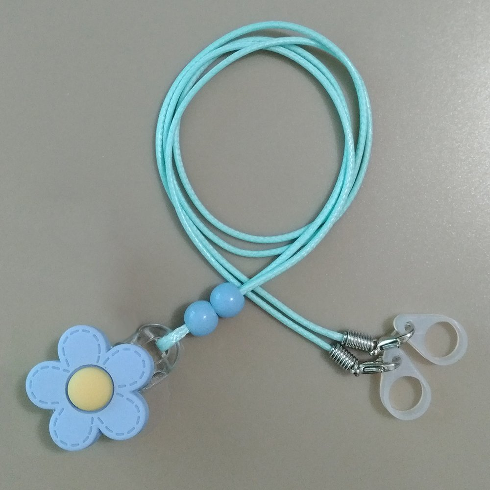 BTE Hearing Aids Clip Safty Protection Accessory w/Replaceable Silicone Loop (Blue Flower)