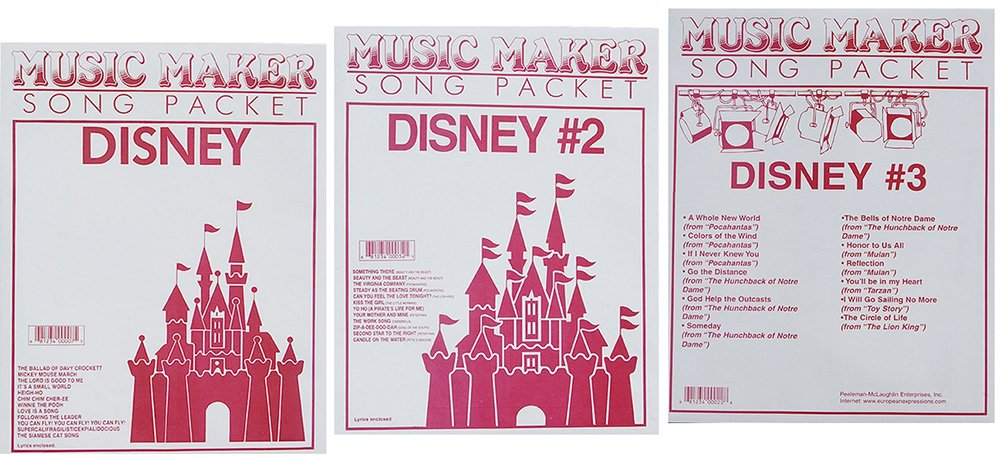 Lap Harp Music: Disney #1, #2, #3, Songsheets for Zither, Music Maker