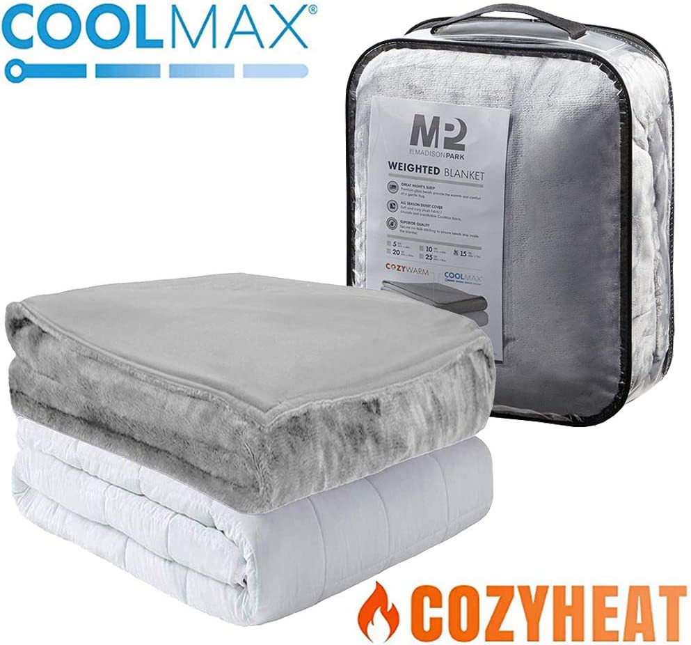 MP2 Weighted Blanket 48 x 72 Inches 15lbs Twin Size with Removable Coolmax Cooling and Warm Cover for Hot and Cold Sleepers Heavy Blanket with Nano - Ceramic Beads Grey