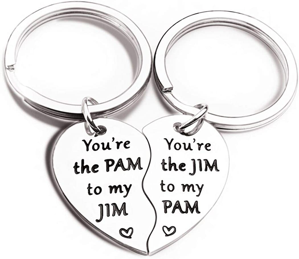 2Pcs Office TV Show Merchandise Keychain You are The Pam to My Jim Gift - Boyfriend Girlfriend Husband Wife Couples His Her Anniversary Present Engagement Valentine's Day, Silver, Small