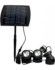 RivenAn 18 LEDs Waterproof Solar Energy Powered Spotlight Projection Light with 3 Submersible Lamps for Outdoor Garden Pool Pond Spot Lamp Light, Underwater Light, Warm White