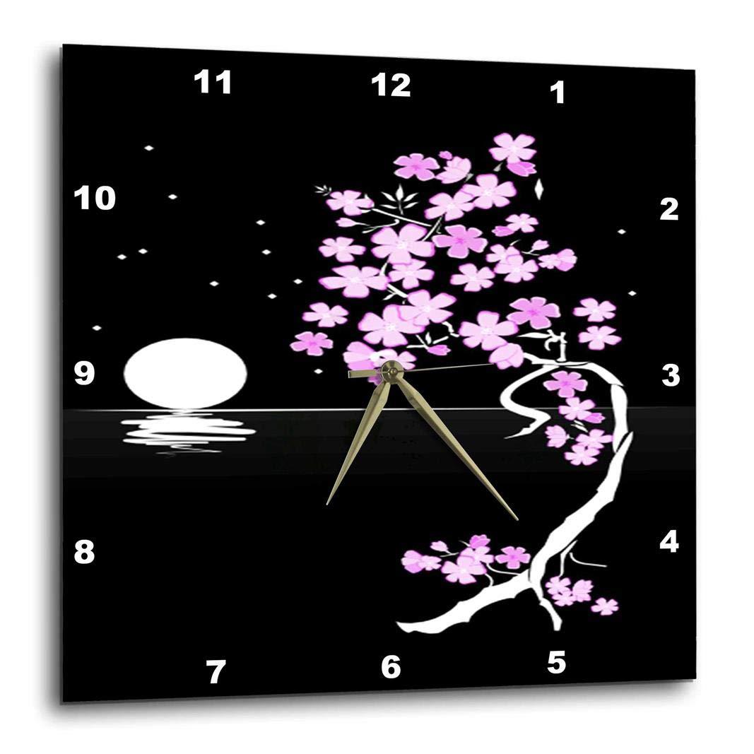 10 by 10-Inch 3dRose DPP/_62450/_1 Japanese Botanical Black White N Pink Botanical N Moon Art Wall Clock