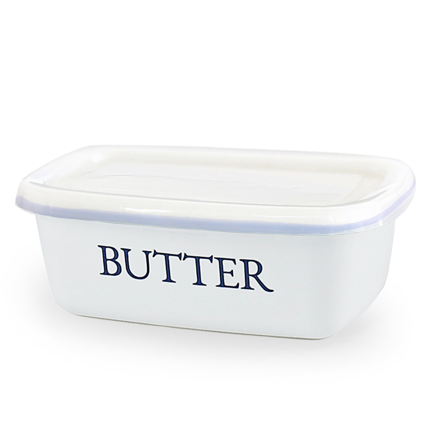 SveBake Butter Dish - Enamel Butter Boat Unbreakable Butter Keeper Container with Airtight Plastic Lid for Kitchen, White