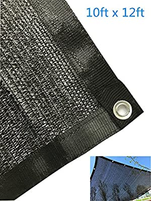 YGS Perfect Sunblock Shade Cloth With Grommets 70% UV 10 ft x 12 ft Black for Plant Cover Greenhouse Barn Kennel Pool Pergola or Swimming Pool