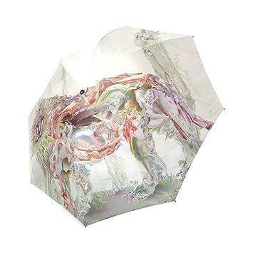 wokfox pintado León Custom plegable paraguas personalizados plegable lluvia paraguas
