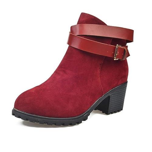 Botines para Mujer, K-youth® Clásico Hebilla de cinturón Botas Altura Aumentando Zapatos