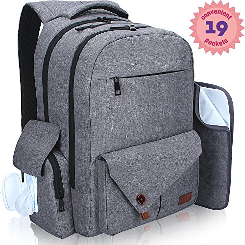 Diaper Bag - Baby Diaper Bag - Diaper Bags - Backpack Diaper Bag for Women Men Kids Girls Boys - Portable Large Best Diaper Bag - Cute Designer Stylish Dad Travel Diaper Bag - Grey Unisex Bookbag