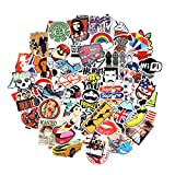Ouguan Laptop Stickers [100 pcs], Breezypals Car Stickers Luggage Decal Graffiti Guitar Skateboard Vinyl Stickers for Laptop, Rock and Roll Music Band Stickers- No-Duplicate Sticker Pack (Series B)