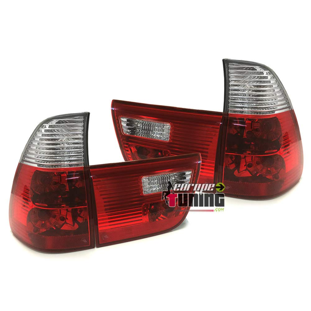 10351 FEUX ARRIERES COMPLETS ROUGES CLAIRS X5 E53 1999-2003 PHASE 1 europetuning