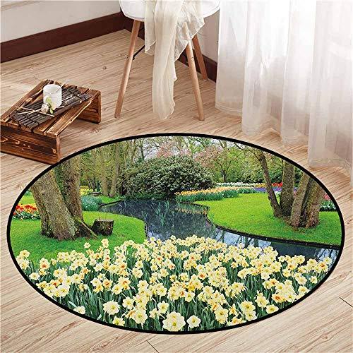 Indoor/Outdoor Round Rugs,Spring,Flower Garden in Recreation Park with Fresh Grass Field and Pond Nature Scene,Door Floor Mat for Bedroom,2'11