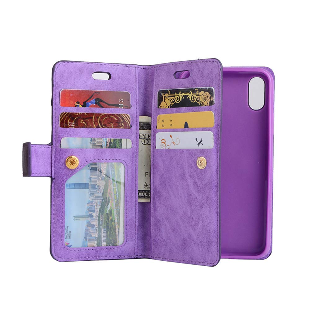 iPhone X Wallet Case,FuriGer iPhone X Case With Stand Flip Cover with Card Holder & Wrist Strap Phone Case Pouch for iPhone X 5.8 inch (Purple)