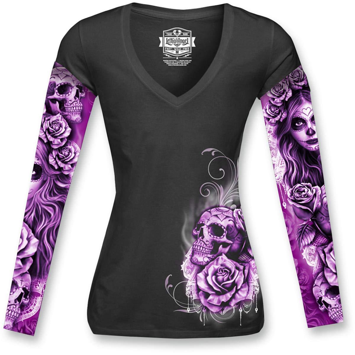 Lethal Threat Women's Long Sleeve Shirt (My Nightmare Tattoo Sleeve)(Black, X-Large), 1 Pack LT20428XL