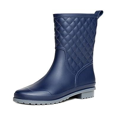 YoungSoul Damen Halbschaft Gummistiefel Regenstiefel Wasserdichte Outdoor Gummistiefeletten Schuhe Schwarz EU 36 ox3dx1