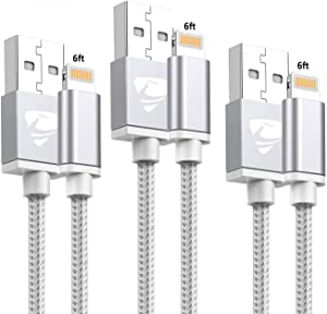 iPhone Charger Aioneus iPhone Cable MFi Certified Fast Charging Cable 3Pack 6ft Nylon Braided iPhone Charging Cord Compatible with iPhone 11/XR/XS/X/10/8/8 Plus/7/7 Plus/6/6s/Plus/SE/5c/5s/5 iPad