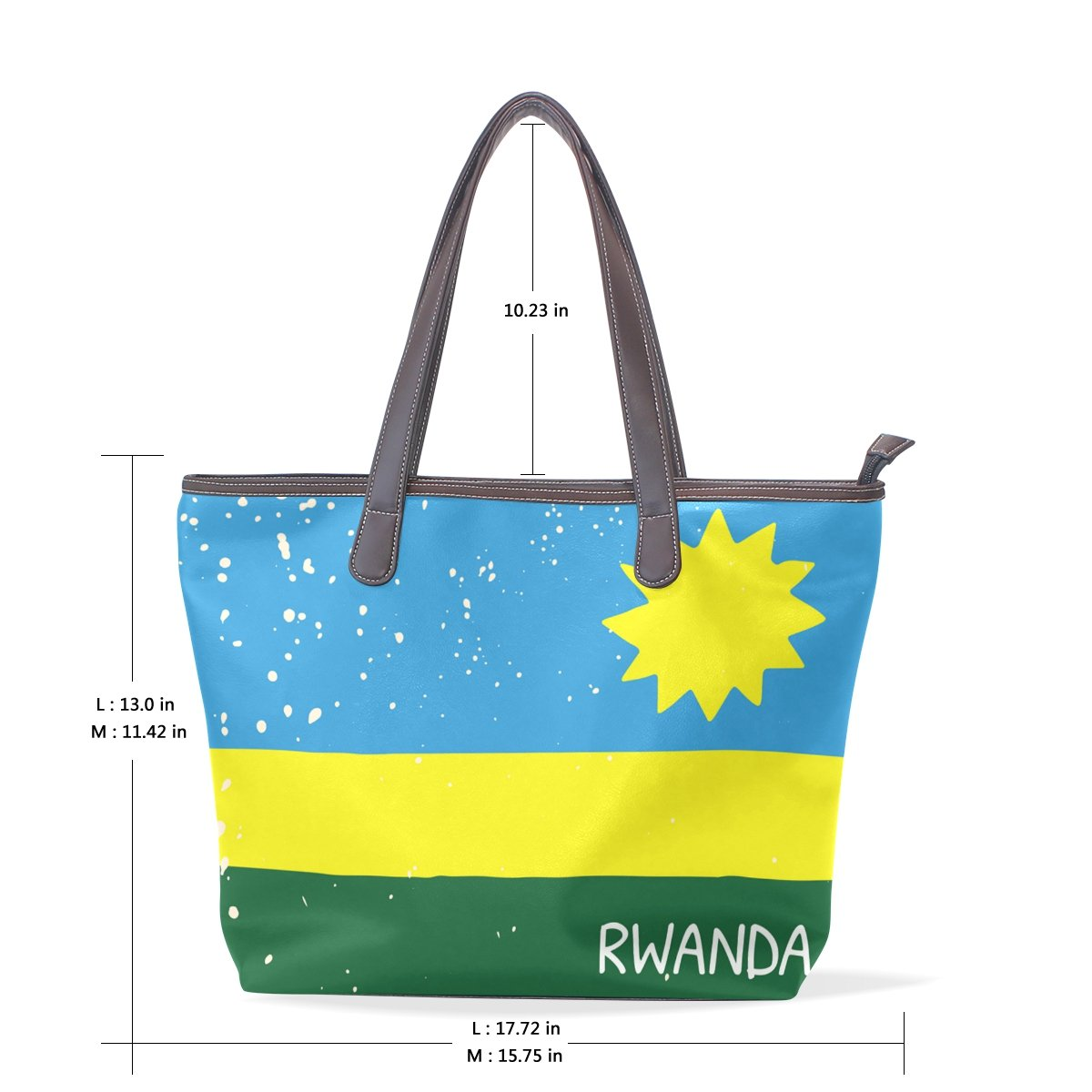 Distressed Rwanda Flag Womens Fashion Large Shoulder Bag Handbag Tote Purse for Lady