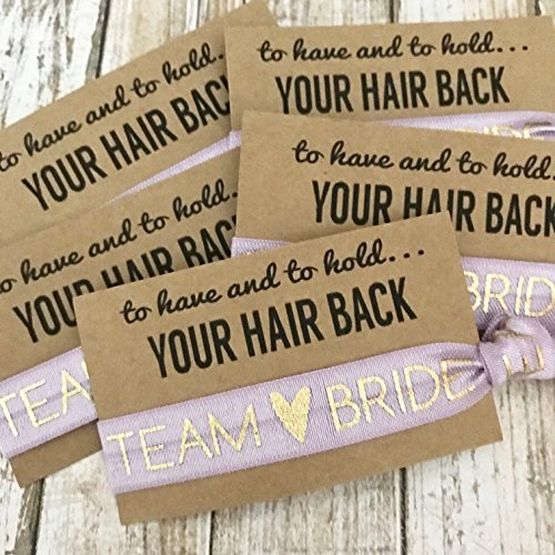 Set of 5 To Have & To Hold Your Hair Back Favors | Team Bride | Bachelorette Hair Tie Favors (Lavender)